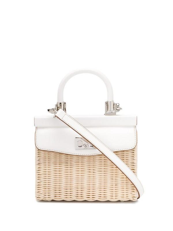 Rodo top handle tote bag in white