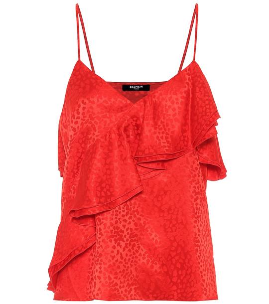 Balmain Leopard-jacquard silk camisole in red