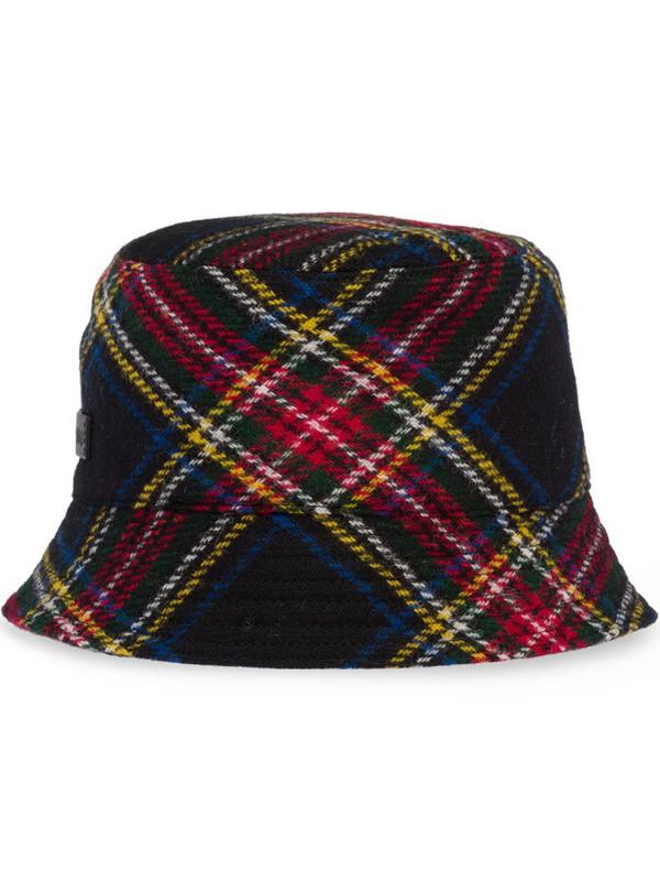 Miu Miu tartan-pattern bucket hat in black