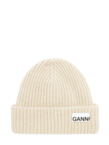 GANNI Recycled Wool Blend Knit Beanie in sand