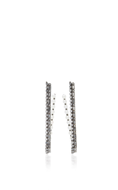 Colette Jewelry 18K Oxidized Gold Diamond and Pearl Hoop Earrings in black