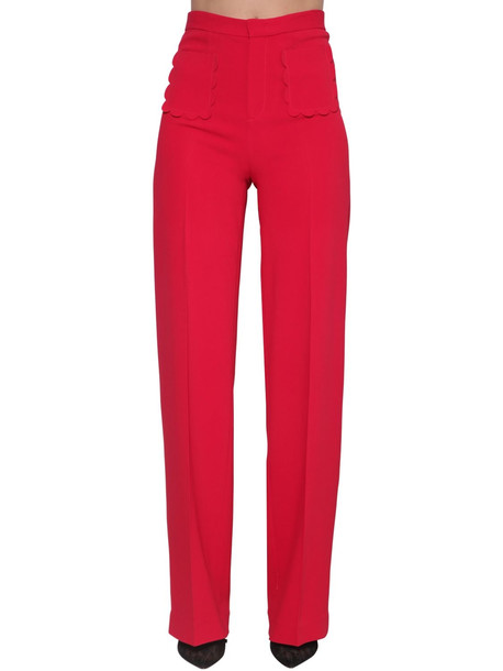 RED VALENTINO High Rise Stretch Wide Leg Pants in red