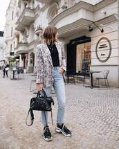 jacket,blazer,snake print,black sneakers,black bag,cropped jeans,black top