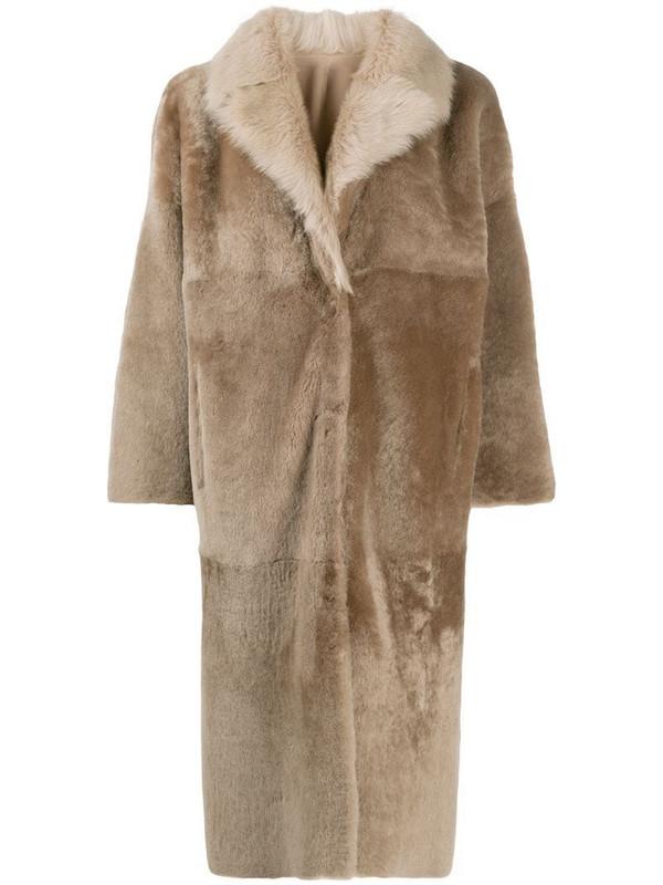 Liska single breasted reversible coat in neutrals