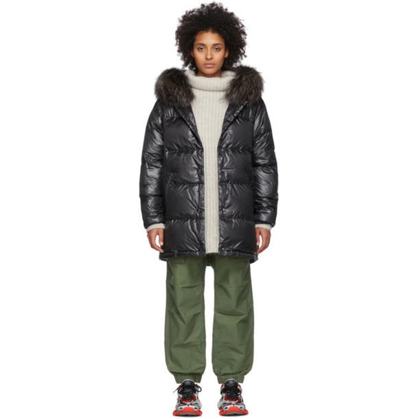 Yves Salomon - Army Black Down Fox Trim Jacket