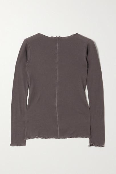 Baserange - Net Sustain Pama Ribbed Organic Cotton-jersey Top - Gray