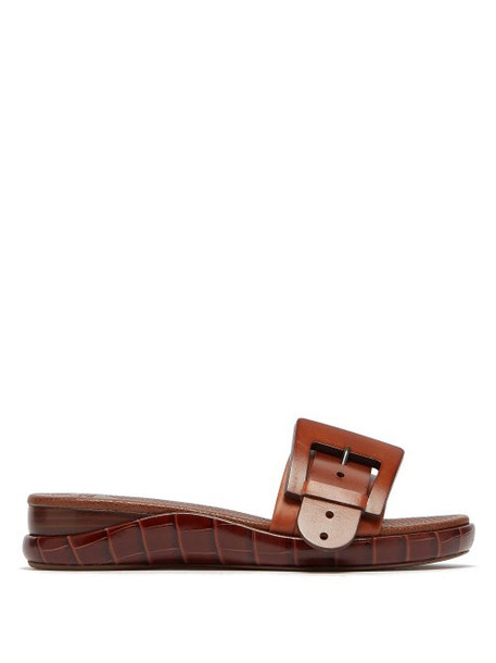 Chloé Chloé - Buckle Crocodile Embossed Leather Slides - Womens - Brown