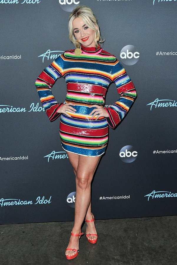 dress mini dress sequins sequin dress stripes striped dress katy perry celebrity colorful