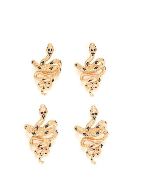 L'objet - Set Of Four Snake Gold Plated Napkin Rings - Womens - Gold Multi