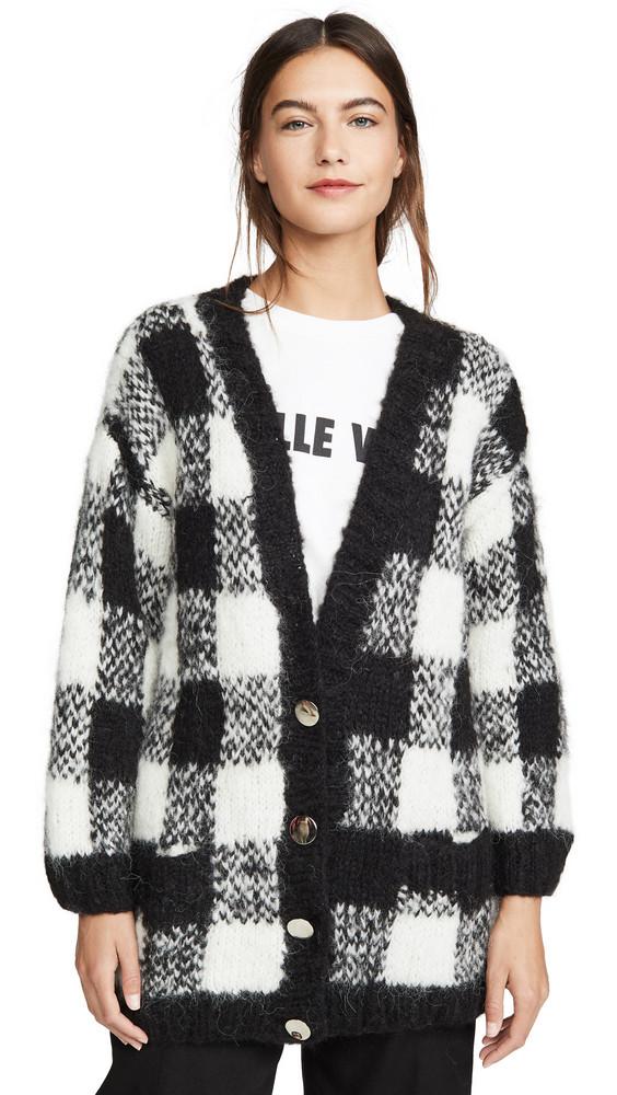 Michaela Buerger Alpaca Check Cardigan in black / white