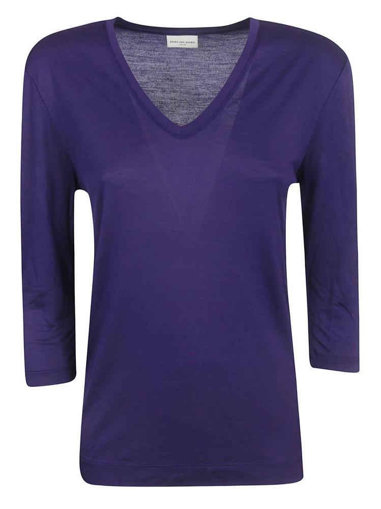 Dries Van Noten Classic V-neck Top in purple