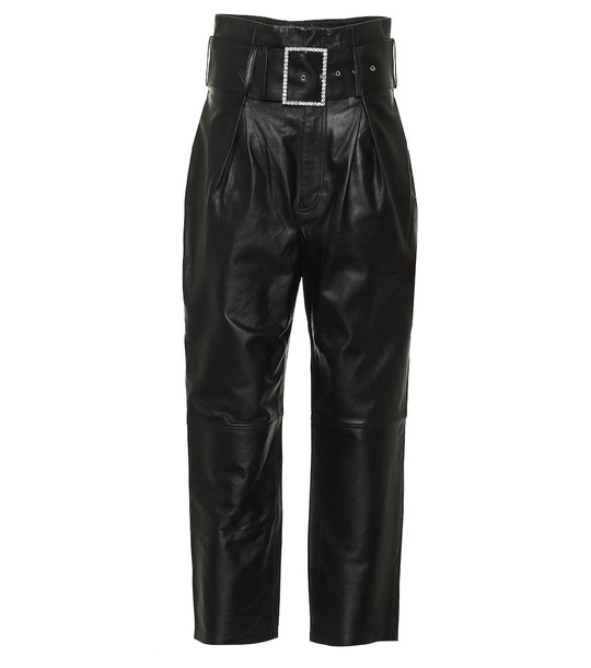 Grlfrnd Beatrice high-rise leather pants in black