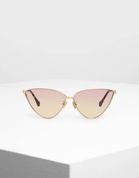 Skinny Framed Cateye Sunglasses in gold