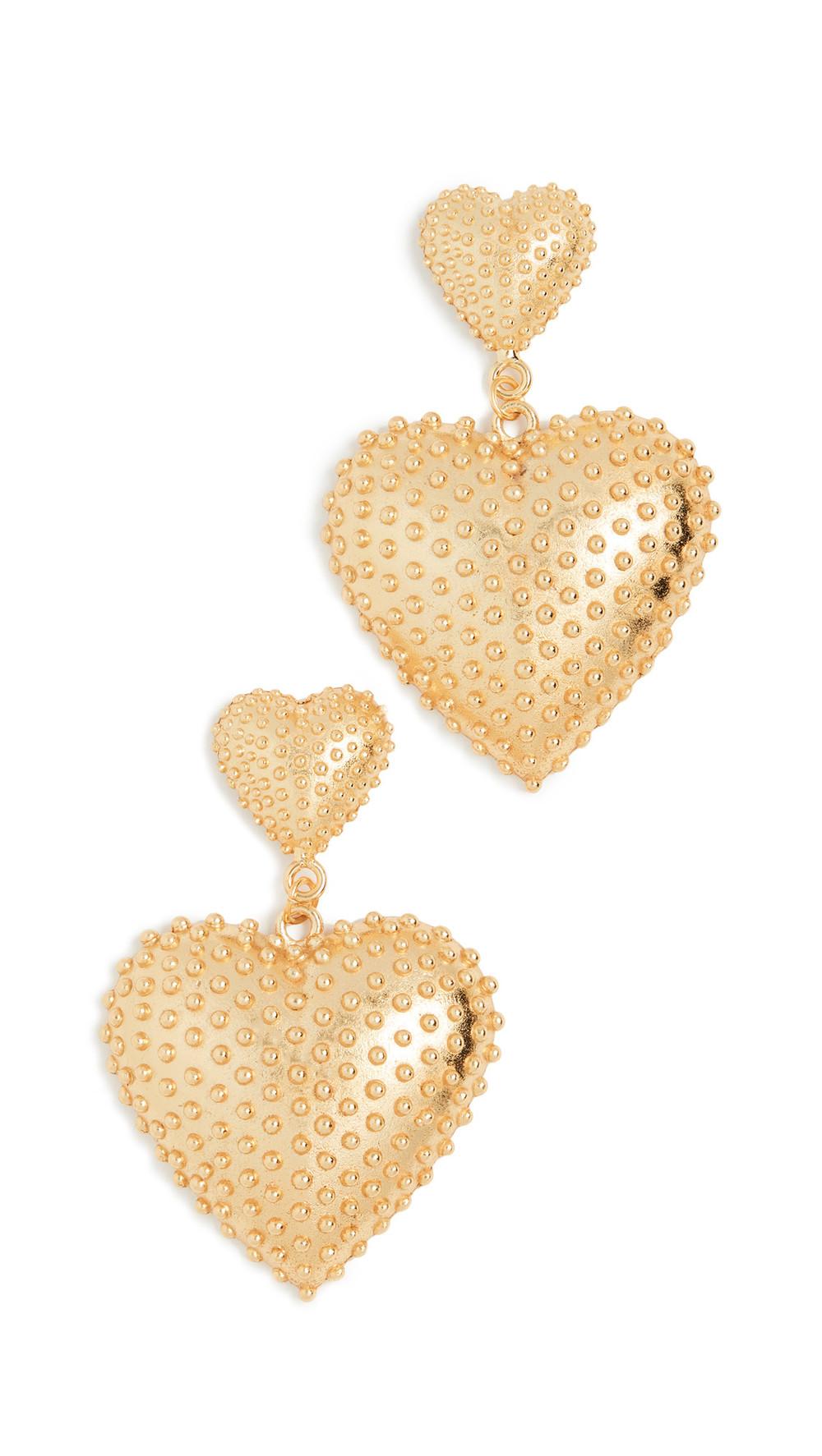Mallarino Marguerite Two Heart Earrings in gold