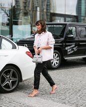 pants,black leather pants,black pants,sandals,handbag,white jacket,oversized jacket,white t-shirt