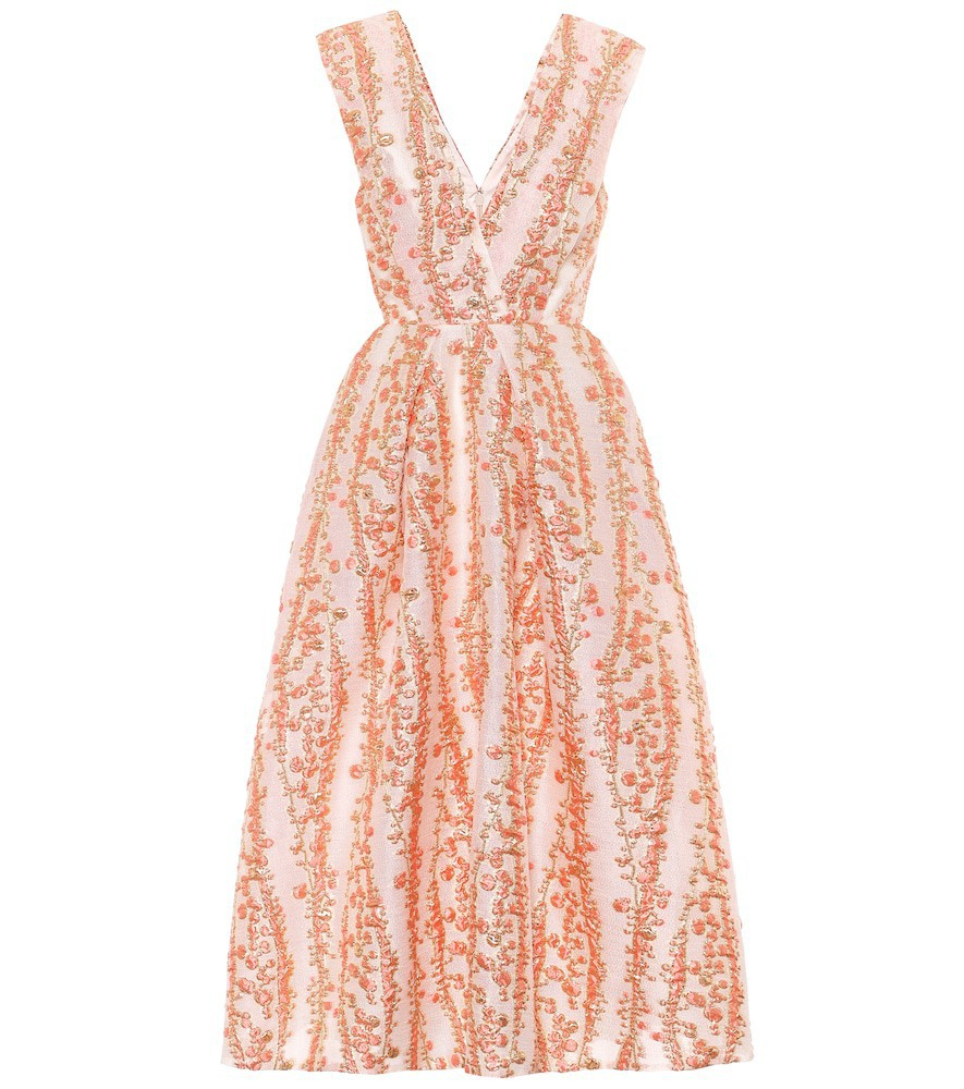 Monique Lhuillier Jacquard midi dress in orange