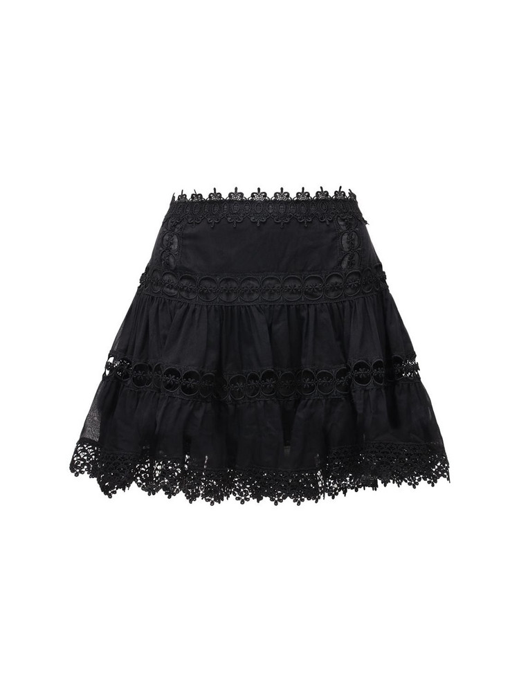 CHARO RUIZ Greta Voile & Broderie Mini Skirt in black