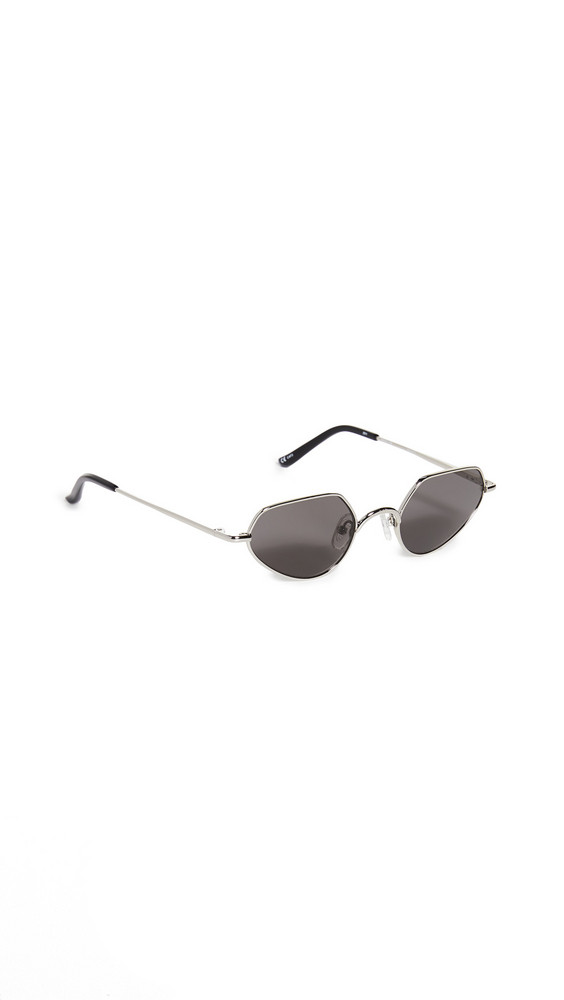 Linda Farrow Luxe Linda Farrow x Dries Van Noten Metal Narrow Cat Eye Sunglasses in black / grey / silver