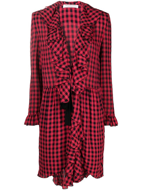 Philosophy Di Lorenzo Serafini gingham-check dress with ruffle detail in red