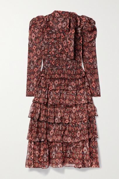 Ulla Johnson - Azra Ruffled Printed Silk-chiffon Midi Dress - Multi