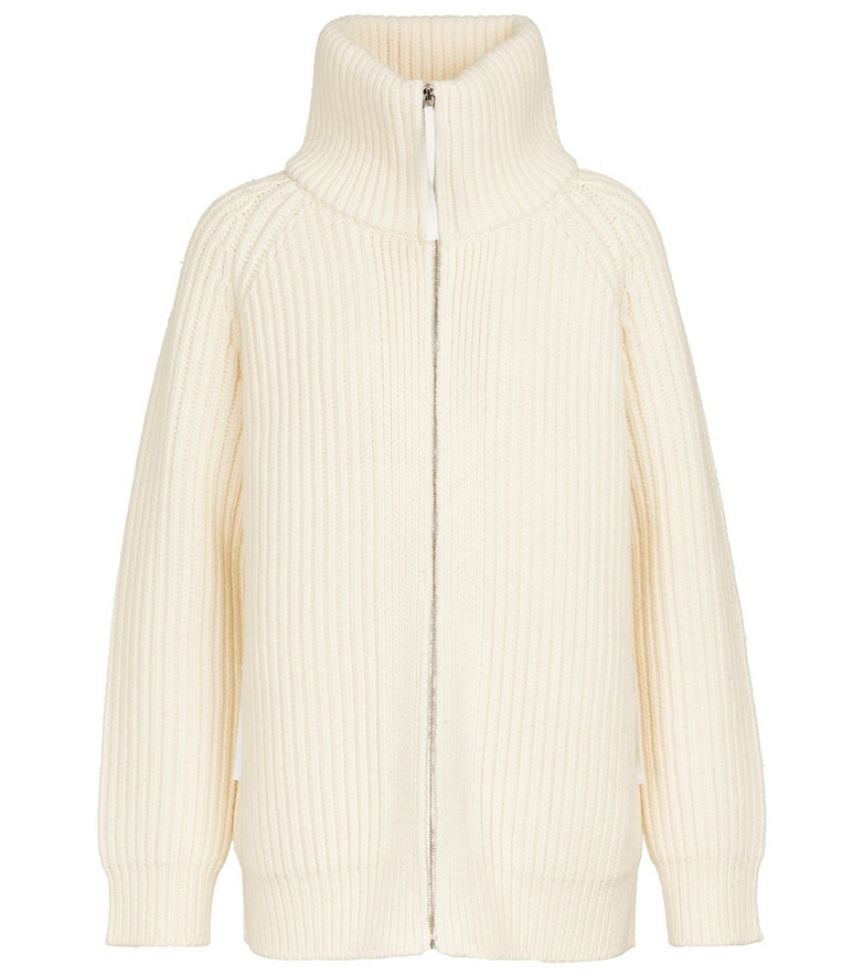 Gabriela Hearst Sally wool knit zip-up cardigan in white