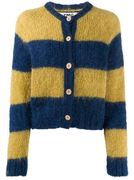 YMC striped knit cardigan in blue