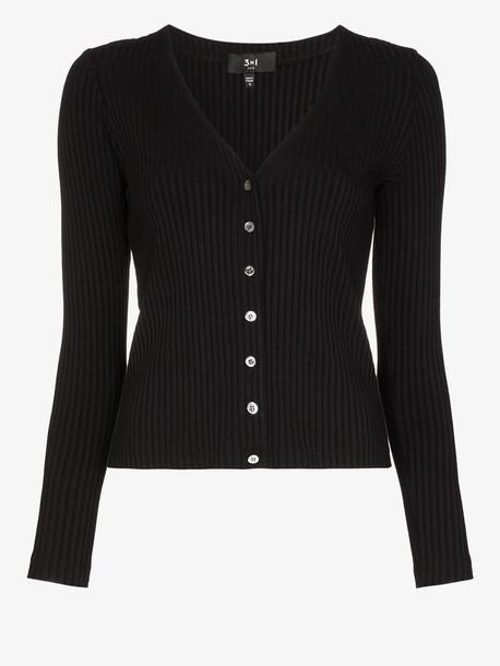 3x1 V-neck ribbed cardigan in black