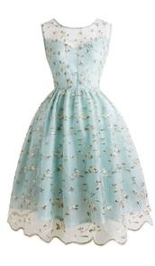 dress,blue dress,lace,lace embroidery,floral,1950s dress party,vintage,retro,1950