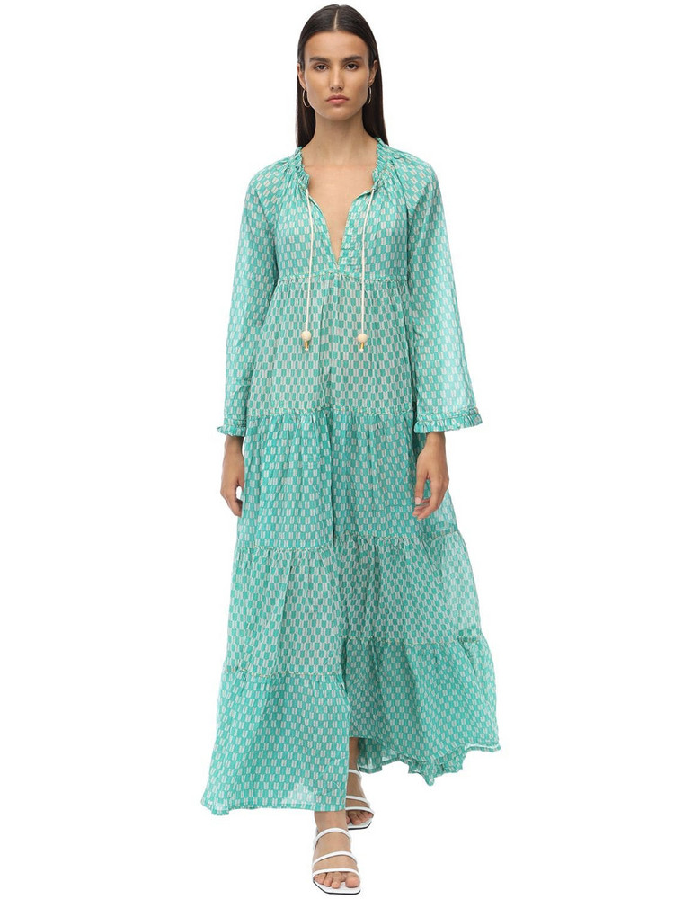 YVONNE S Cotton Voile Maxi Hippy Dress in blue