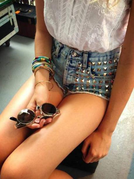 shorts denim hotpants studded shorts sunglasses shirt