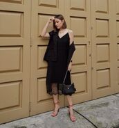 dress,black dress,midi dress,sandal heels,black jacket,prada bag