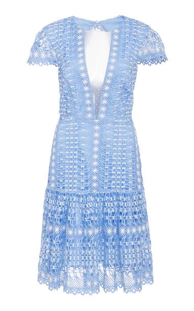 Temperley London Bamboo Lace Crochet Dress Size: 6 in blue