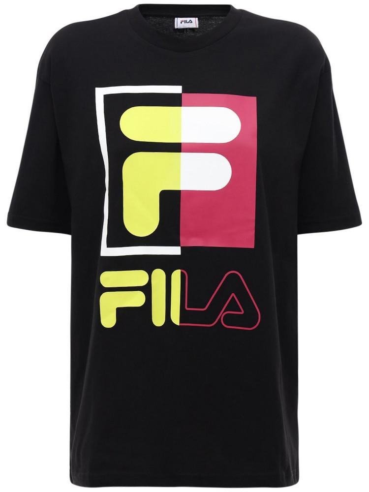 FILA URBAN Logo Print Cotton T-shirt in black
