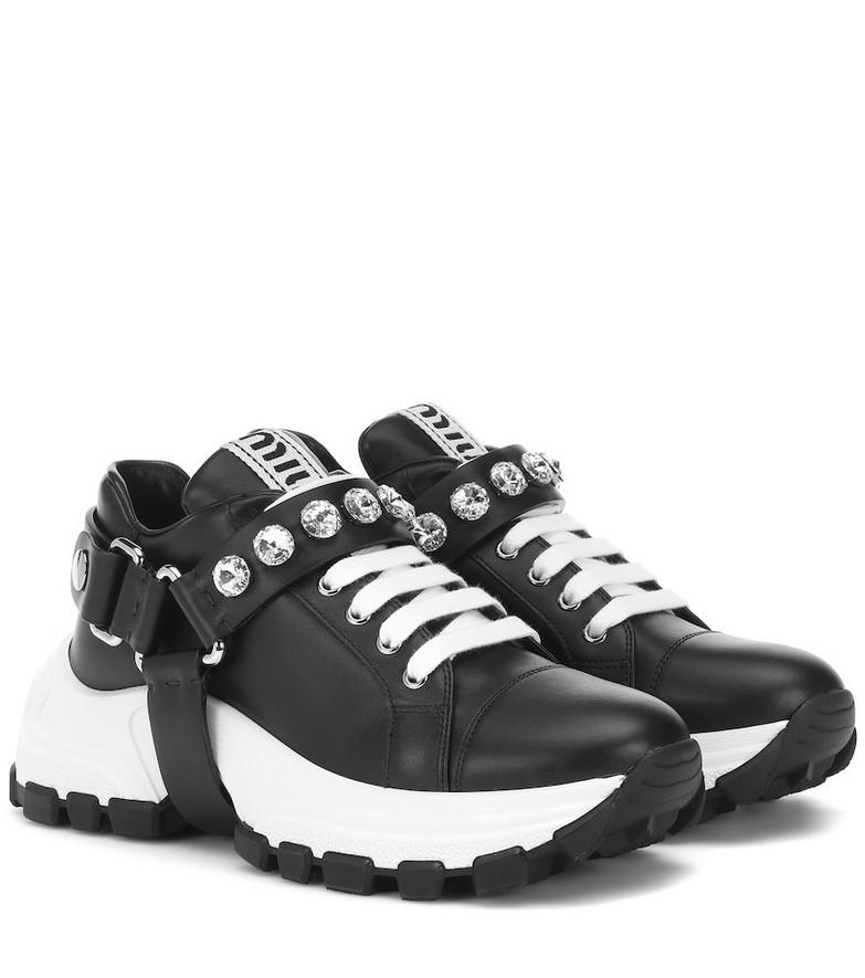 Miu Miu Embellished leather sneakers in black