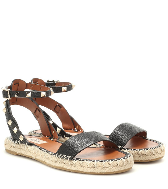 Valentino Garavani Rockstud Double leather sandals in black