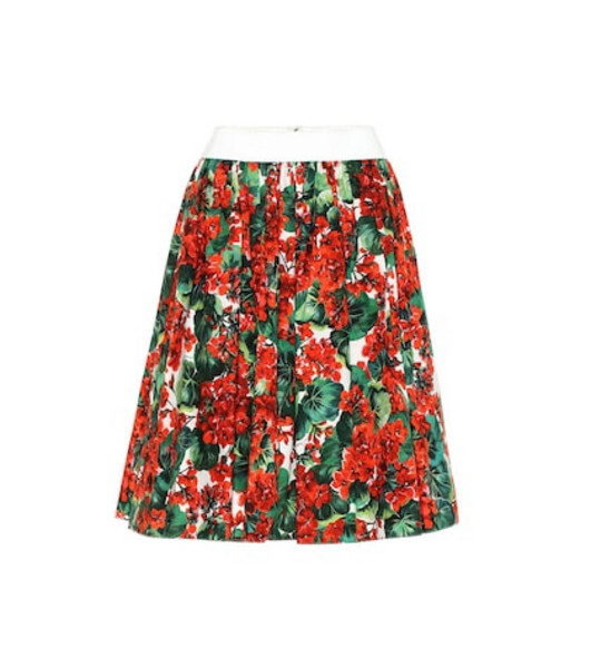 Dolce & Gabbana Floral cotton skirt in red