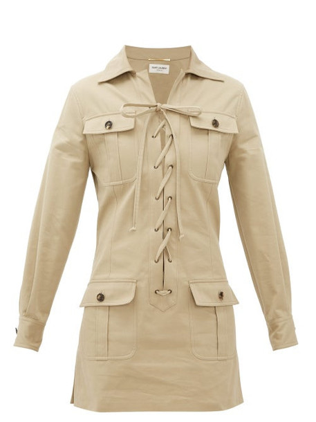 Saint Laurent - Safari Cotton-gabardine Mini Dress - Womens - Beige