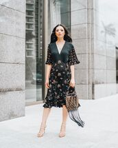 bag,louis vuitton bag,fringes,black dress,floral dress,midi dress,sandal heels