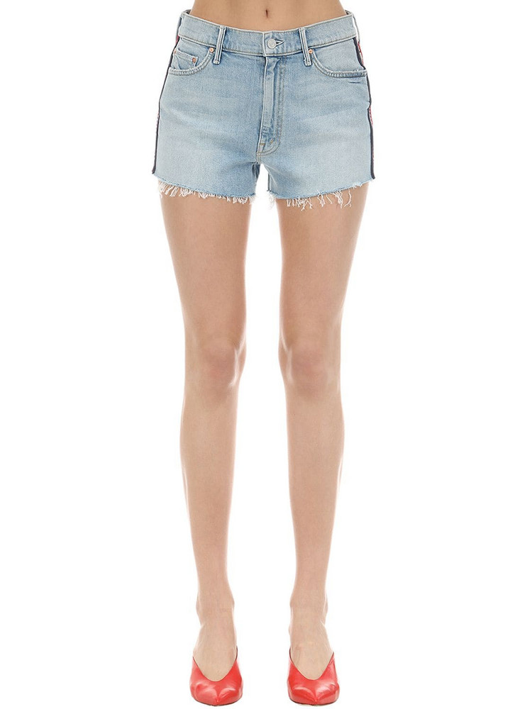 MOTHER Easy Does It Denim Shorts W/ Side Bands in blue / multi
