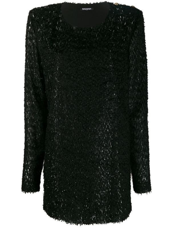 Balmain metallic fringed short dress in black
