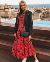 dress,red dress,midi dress,floral dress,zara,white sneakers,black leather jacket,black bag