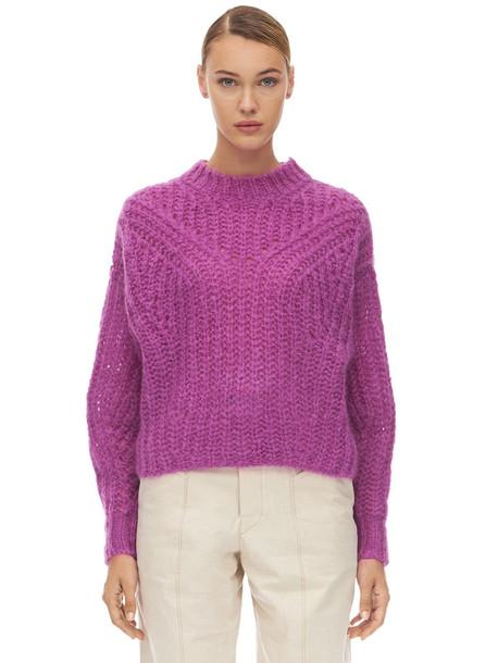 ISABEL MARANT Inko Mohair Blend Knit Sweater in fuchsia