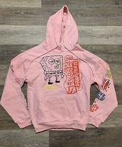 sweater,spongebob,pink,hoodie