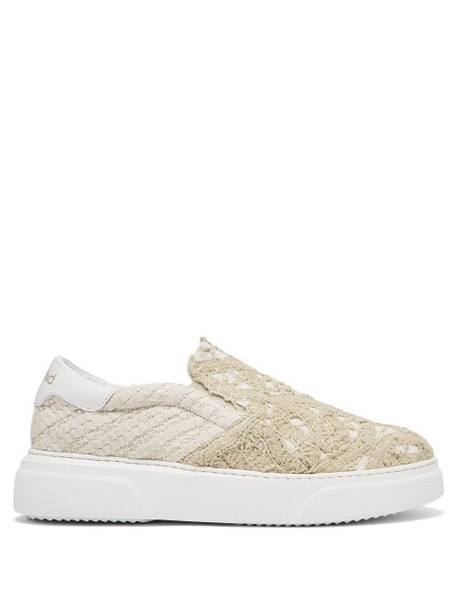 By Walid - 19th Century Lace Panelled Slip On Trainers - Womens - Ivory