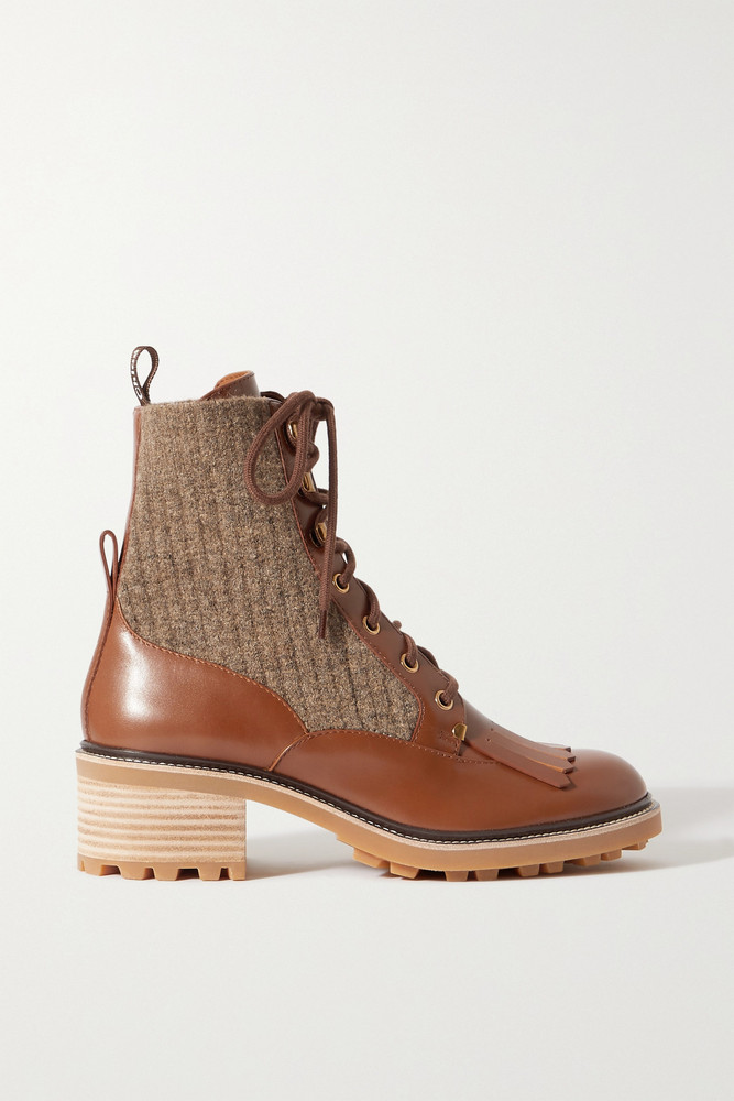 CHLOÉ CHLOÉ - Franne Tasseled Leather And Ribbed Wool Ankle Boots - Brown