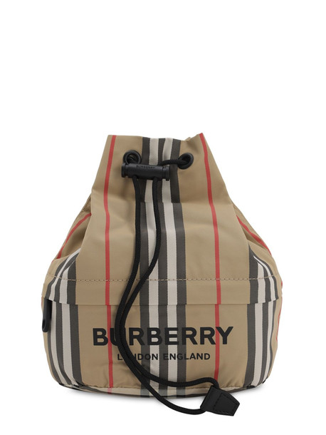 BURBERRY Heritage Phoebe Nylon Drawstring Clutch in beige