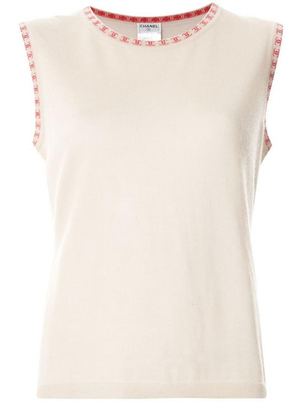 Chanel Pre-Owned cashmere logo trim vest in neutrals