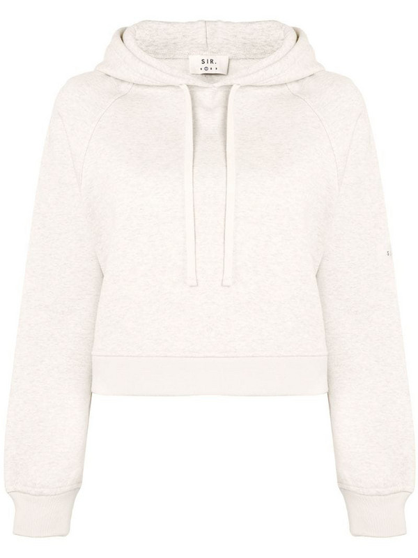 Sir. drawstring cropped hoodie in white