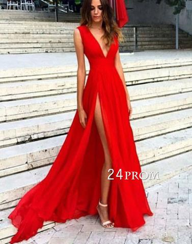 Simple v neck chiffon red prom dress, evening dress - 24prom