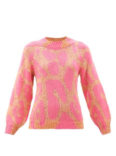 Stella Mccartney - Leopard-jacquard Sweater - Womens - Pink Multi